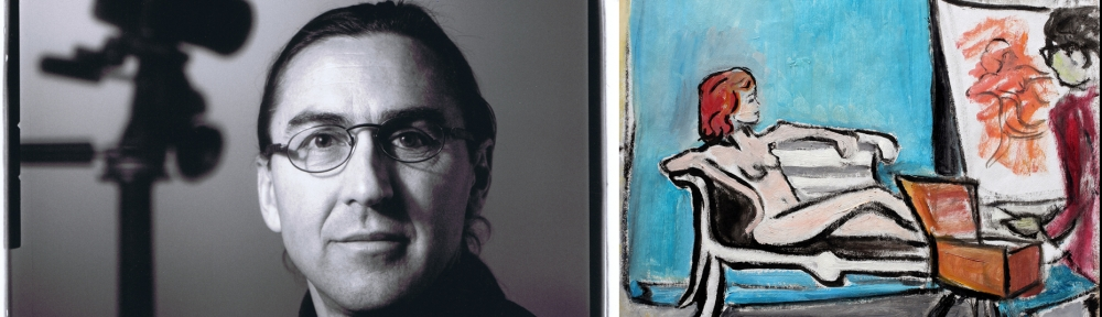 Jay Asquini with camera in background and a painting of Jay painting
